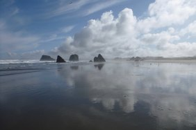Clouds and rocks in the mirror | Coquille Point, Oregon
