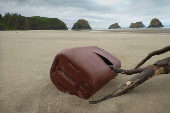 plastic carboy impaled on a root wad; sea stacks in the background