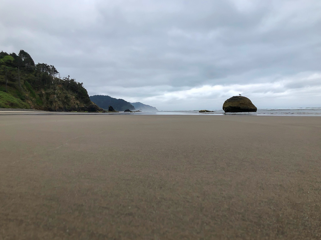 Deserted beach, cloudy morning