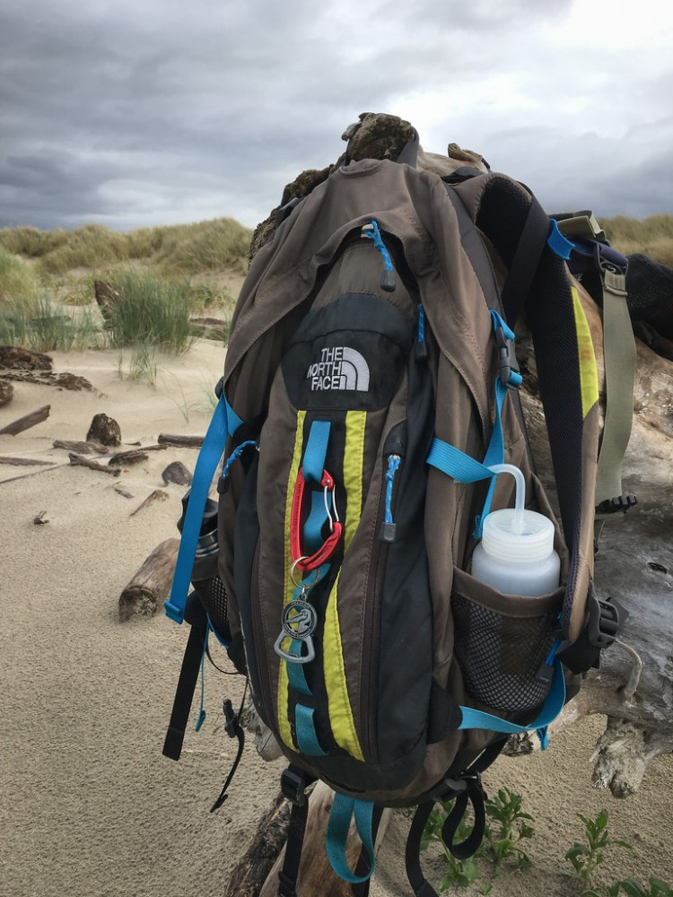 My The North Face Backpack hanging on driftwood, foredune in the background