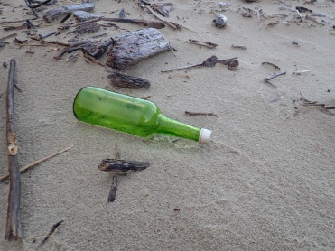 Green Gallow bottle on sand among small driftwood
