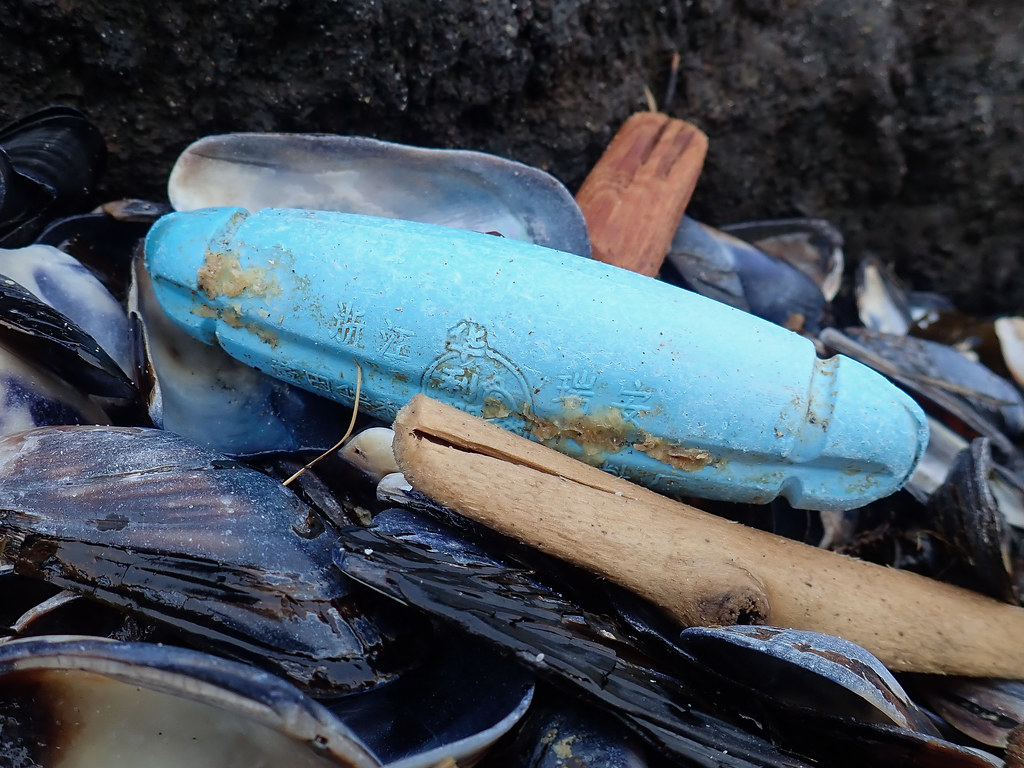 Cigar-shaped blue float with Chines, Japanese, or Korean characters (I'm not sure), washed up among some mussel shells