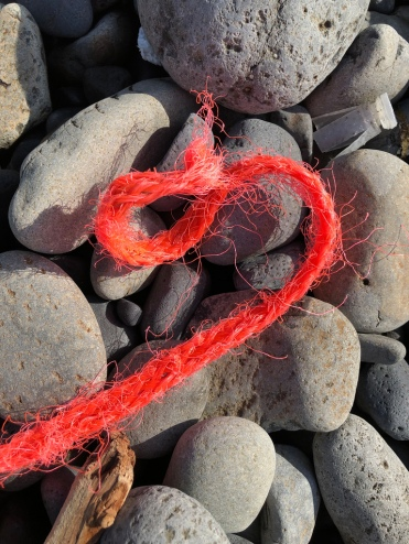 frayed red nylon line and wad in the cobbles