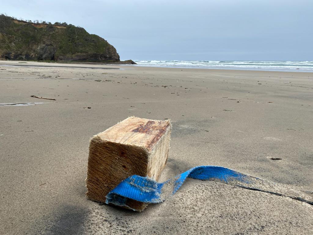 Wood block and heavy blue nylon strap