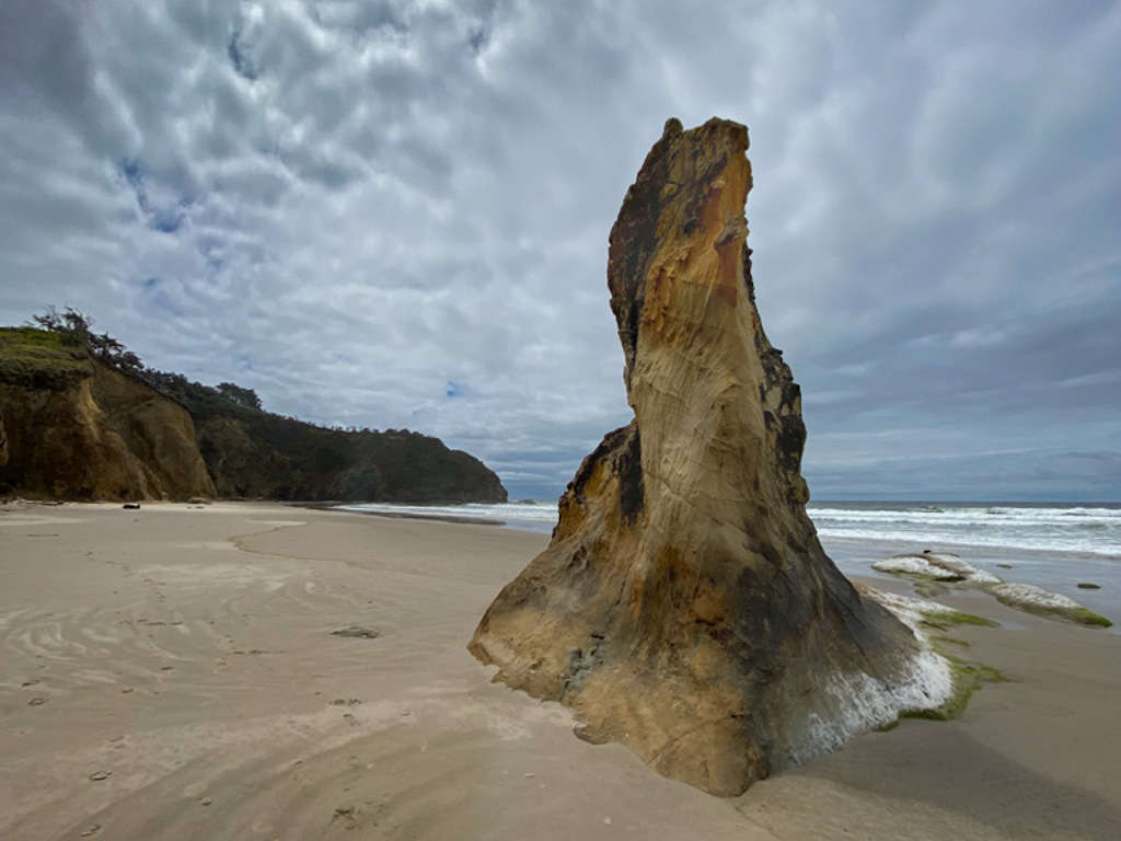 A strange sandstone tower-like outcrop jutting out of beach sand; headland in the distance, surf zone to the right, cliffs to the left
